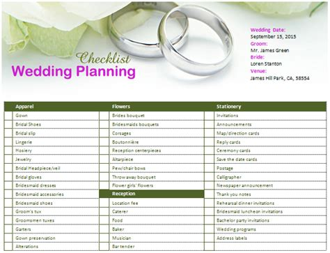 free wedding planning checklist template ms word wedding planning checklist office templates