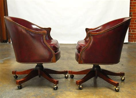 Pair Of Baker Leather Barrel Back Office Chairs At 1stdibs Baker Office Furniture