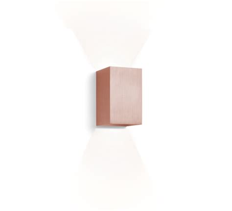 wall light box led brushed copper h16cm wever ducre