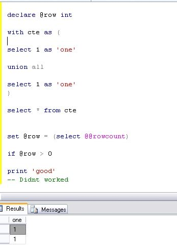 Does Forum Credit Union Test how to do a union and test for if rowcount 0