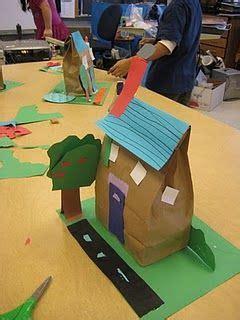 Paper Bag House Craft - preschool construction theme on construction