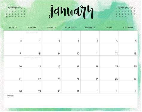 Editable Calendar January 2018 Calendar 2018 Blank Calendar Template 2018