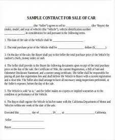 car sale contract template sle used car sale contract 4 exles in word pdf