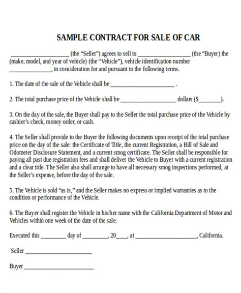 sale of car contract template car sales contract and agreement template exles vlcpeque