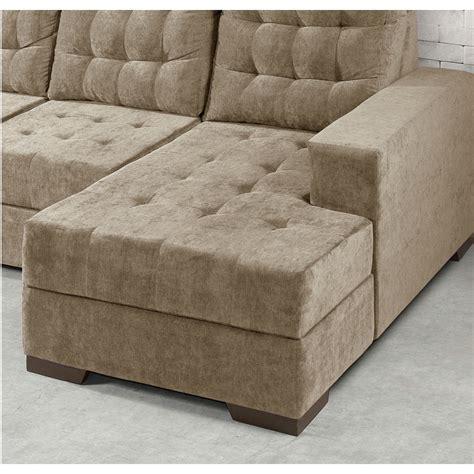 sofa com sof 225 marrocos 3 lugares com chaise premium em tecido suede
