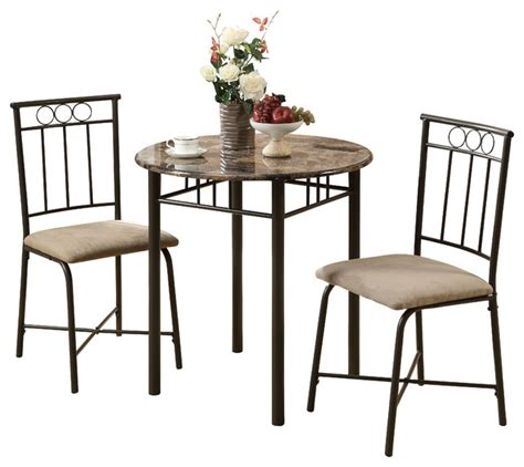 Indoor Bistro Table Set Cappuccino Marble Bronze Metal 3 Bistro Set Transitional Indoor Pub And Bistro Sets
