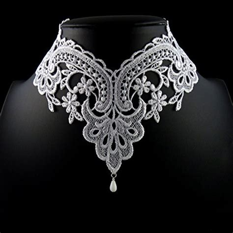 White Lace Choker Plain Necklace Kalung Handmade arthlin jewelry white lace choker necklace with glass teardrop bead handmade in the usa
