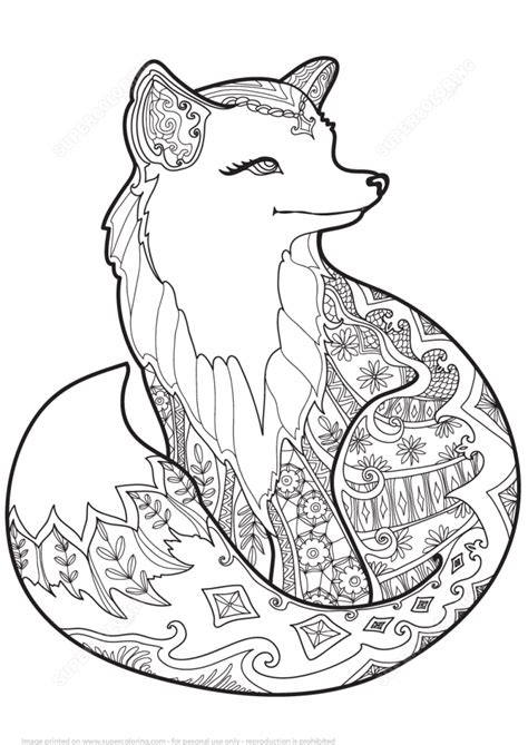 free coloring pages gurpurab download zentangle fox design coloring page art culture free