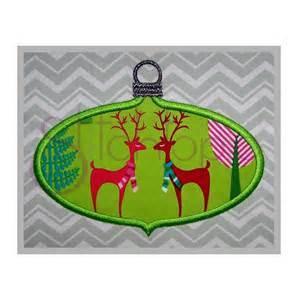 christmas ornament applique design oval stitchtopia