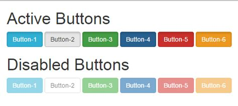 bootstrap responsive color full buttons with hover effect create disabled active button using bootstrap classes in