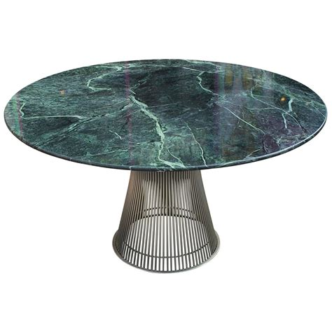 Marble Table Top by Iconic Warren Platner Dining Table With Green Marble Top