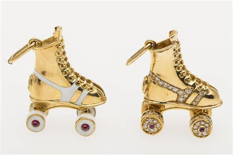 Roller Boot Pendant From Asos by Igavel Auctions 2 Cartier 18k Gold Roller Skate Pendants