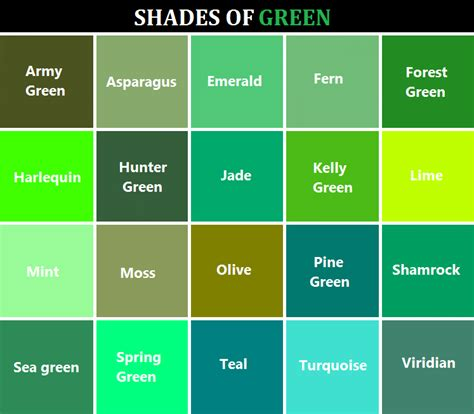 green color shades writing colors reference referenceforwriters