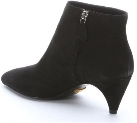 prada black suede kitten heel ankle boots in black lyst