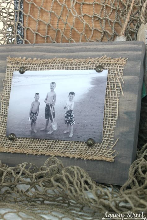 easy scrap wood  burlap picture frame canary street