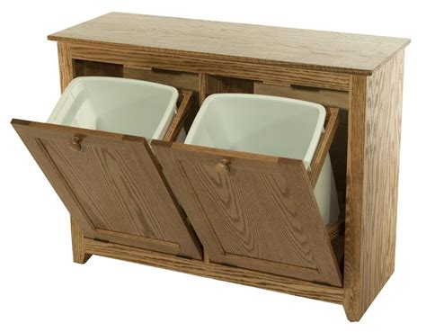 Amish Kitchen Furniture Wood Double Tilt Out Trash And Recyling Combo Bin