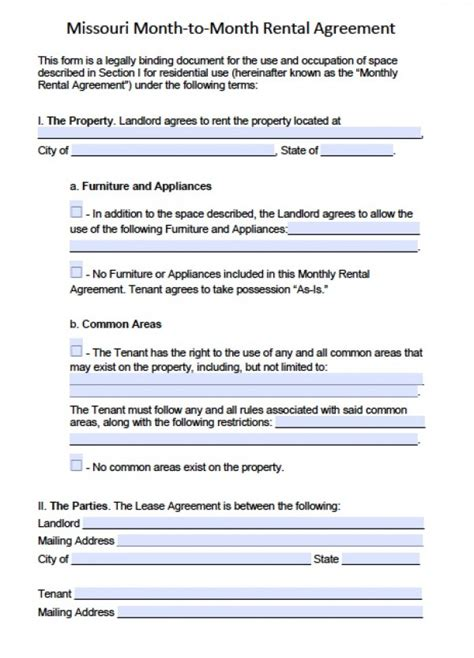 Free Missouri Month To Month Lease Agreement Pdf Word Doc Missouri Lease Agreement Template