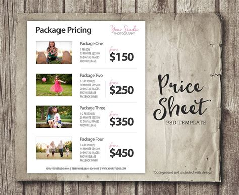 Price List Template Photography Pricing List Sell Sheet Photography Package Pricing Template