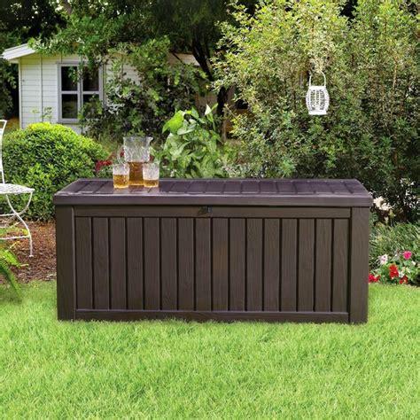 outside storage bench sams club keter 150 gallon deck box 8 sams club deck box
