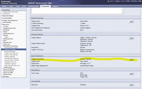 xerox workflow scanning setup xerox 7845 scanning sideways help customer