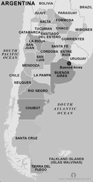 Free Argentina Map Black and White   Map of Argentina