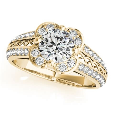 micro pave flower halo engagement ring 18k yellow
