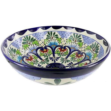 mexican ceramic sinks bathroom mexican tile tabasco round vessel above the counter