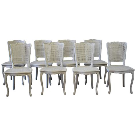 cane dining room chairs set of eight painted vintage french cane back dining