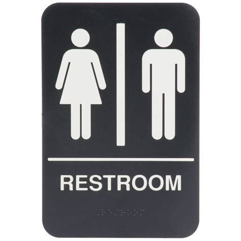 Large Bathroom Signs 9 Quot X 6 Quot Black And White Restroom Sign With Braille