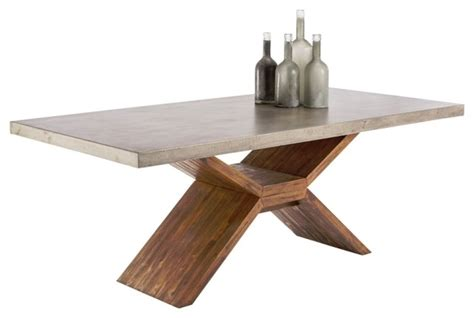 dining table with sealed concrete and solid acacia wood