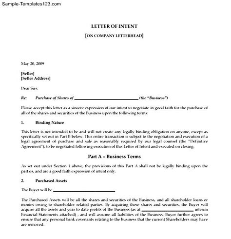 Letter Of Intent Business Model Sale Of Business Letter Of Intent Sle Templates