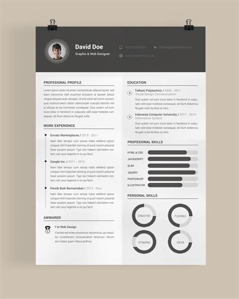Free Beautiful Resume Templates 30 Free Beautiful Resume Templates To Cv