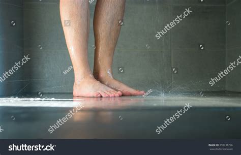 Legs In The Shower by Closeup Legs Bathroom Stock Photo 210731266