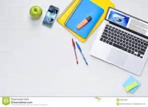 Computer Desk Background Student Computer Desk Technology Background Stock Photo