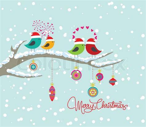 christmas card  bird  gift box stock vector colourbox