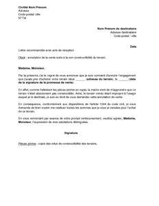 Exemple De Lettre De Demande De Vente Exemple Gratuit De Lettre Annulation Vente Un Terrain Inconstructible