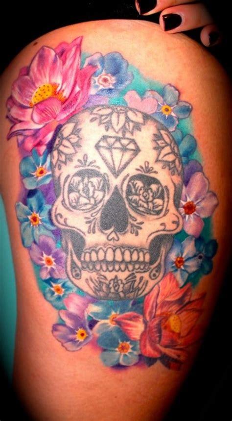 sugar skull tattoos for females lets get inked skull thigh tattoos