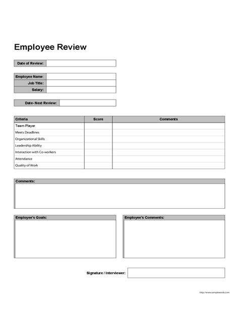 employee review form template employee performance review form 5 free templates in pdf