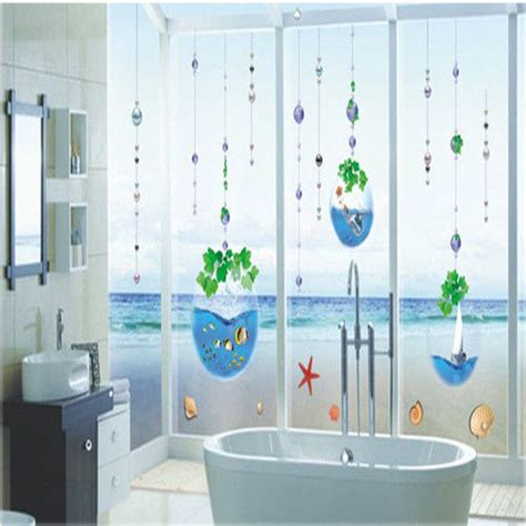 bathroom glass stickers crystal fish tank bead curtain bathroom glass window