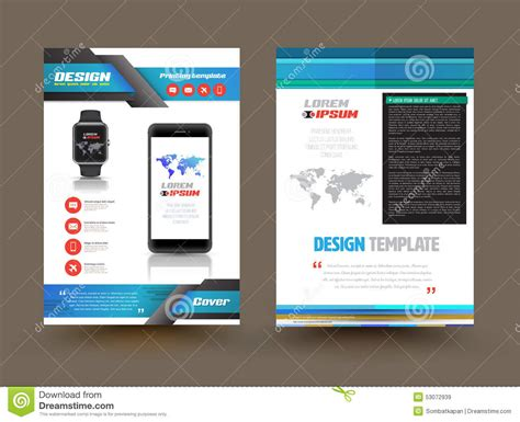 vector brochure template design for technology product stock