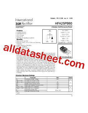diode hfa25pb60 hfa25pb60 fiche technique pdf international rectifier