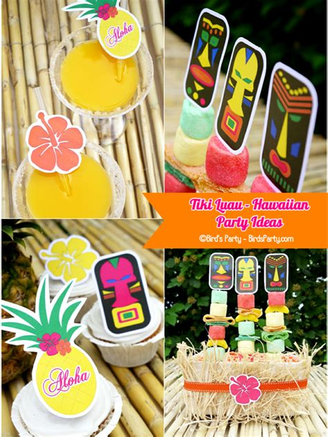 printable theme party decor hawaiian tiki luau diy party ideas free printables