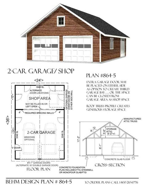 garage plans 2 car attic garage plan with shop in back 864 5 24 x 36