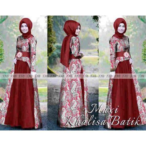Gamis Baju Muslim Maxi Dress Batik 1978 Merah maxi khalisa batik baju pesta murah model terbaru