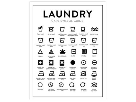 printable laundry instructions laundry care chart printable letter size instant download