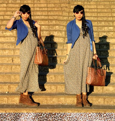 Yunita Maxi 1 yunita elisabeth bali leopard maxi dress thrift store brown boots blue blazer sunnies
