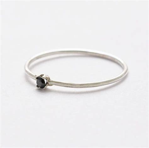 black stack ring silver promise ring black