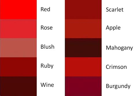 shades of red color palette and chart with color names download colors of red monstermathclub com