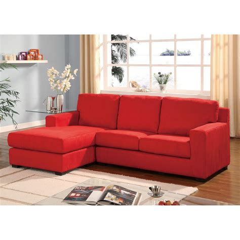 Red Microfiber Multifunction Reversible Sectional Sofa Sectional Sofa Microfiber