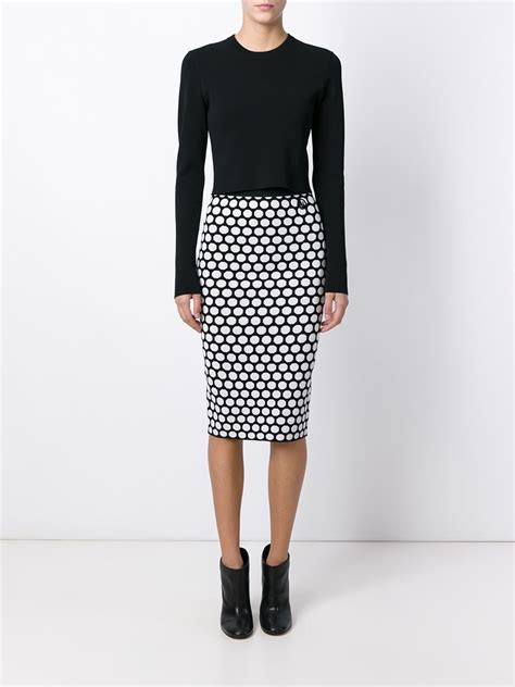 Polka Dot Pencil lyst armani polka dot pencil skirt in black